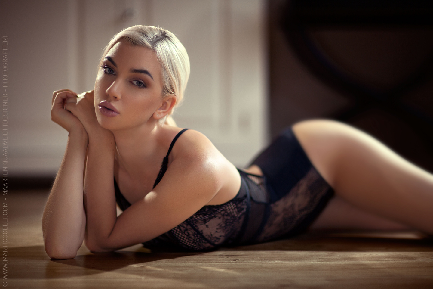 blonde in sexy lingerie